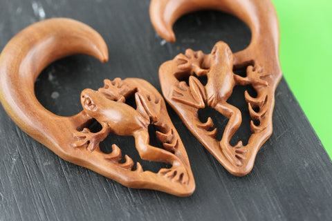 Wooden Frog Hangers - Carved Frog Plugs (Pair) - A064