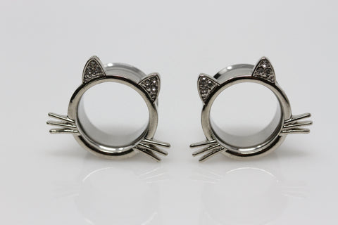 Whiskers Stainless Steel Cat Tunnels - Double Flare Plugs (Pair) - PSS29