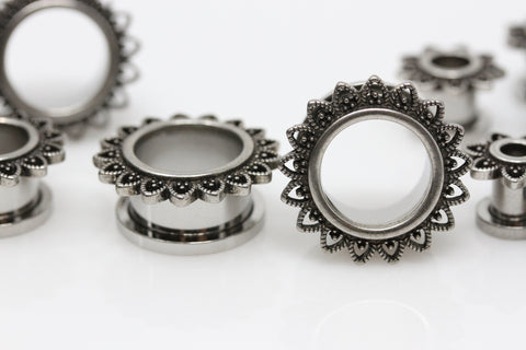Sacred Flower Stainless Steel Tunnels - Screw on (Pair) - PSS19