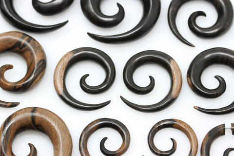 Areng Wood Ear Spirals - (Pair) - F007