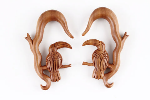 Toucan Hanging Plugs - Carved wood toucan plugs (Pair) - A066