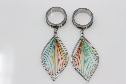 Rainbow Flame Stainless Steel Danglers - Screw on Tunnels (Pair) - PSS24