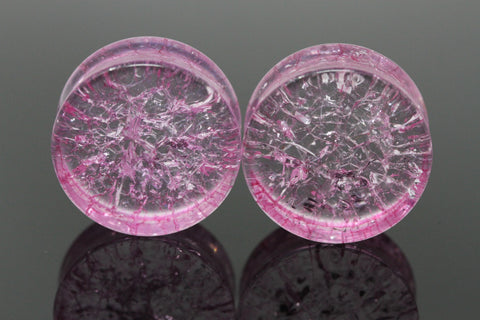 Pink Shattered Glass Plugs for stretched ears (Pair) - PB47