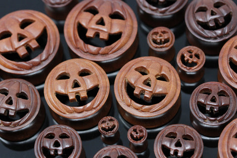 Happy Pumpkin Wooden Plugs - (Pair) - PA108
