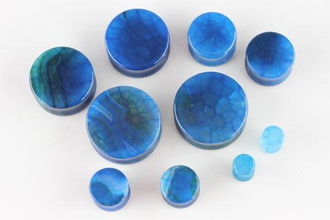 Blue Dragon Glass Plugs for stretched ears (Pair) - PH08