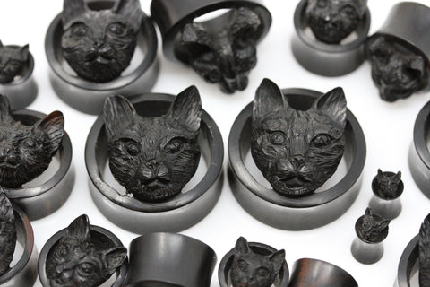 Black Halloween Cat Wooden Plugs - (Pair) - PA115