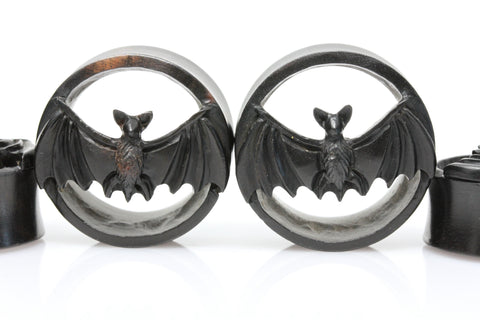 Vampire Bat Wooden Plugs - (Pair) - PA107