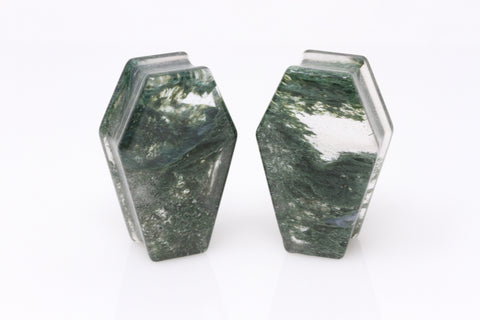 The Swamp Thing Coffin Plugs - Moss Agate Coffins - PH92
