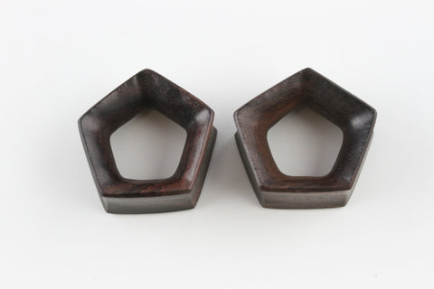 Pentagon Wood Tunnels - Hand Carved Gauged Plugs (Pair) - PA58