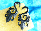 Black Carved Stretching Hanger Earrings (Pair)  - B010