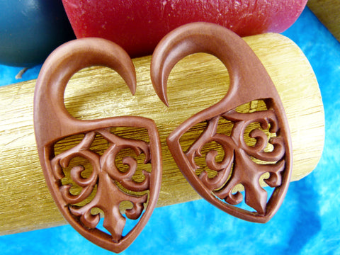 Carved Wooden Plugs - Stretch Ear Gauged Plugs (Pair) - A040