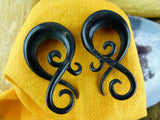 Black Twisting Stretch Horn Earrings