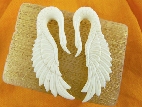 Swan Hanging Bone Earrings for Stretched Ears (Pair) - C030