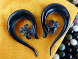 Black Horn Hanging Plugs for Stretched Earrings (Pair) - B015
