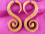 Serpent Ear Stretching Wood Hangers (Pair) - A043