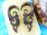 Stretched Ear Hangers - Hand Carved Wood (Pair) - D010