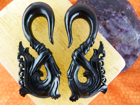 Black Horn Stretching Earrings