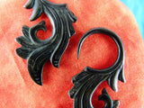 Black Stretched Plug Ear Hangers (Pair) - B032