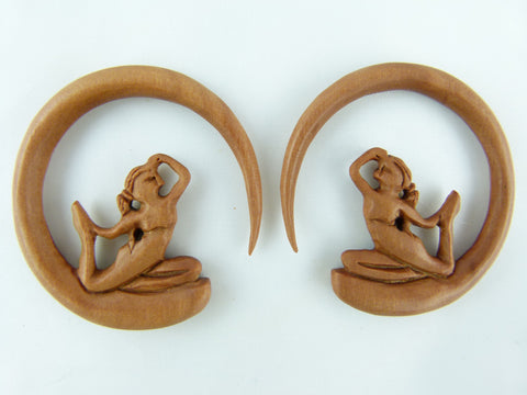 Singing Sirens Wood Stretch Earrings