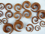 Wood Ear Spirals Hand Carved (Pair) - A048