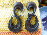 Wood Curved Feather Ear Stretching Plugs (Pair) - D006
