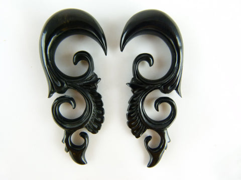 Black Horn Hangers for Stretched Ears (Pair) - B026