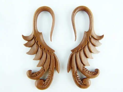 Carved Flowing Feather Stretcher Hangers (Pair) - A031