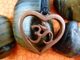 Om Heart Necklace - Hand Carved Sawo Wood -Z008