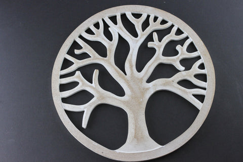White Washed Tree of Life- Hand Carved Tree of Life- QA23BZ-WW