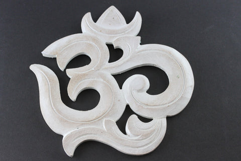 Om Wall Art- Carved Wood and White Washed - QA01BZ-8