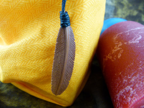 Brown Feather Necklace - Wood Carved Necklaces - Z010