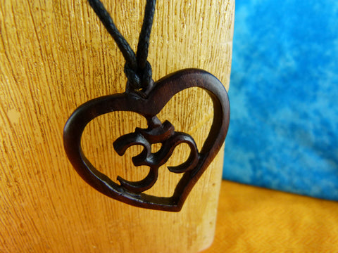Heart Om Meditating Necklace - Wood Carvings - W008