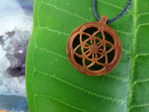 Yantra - Hand Carved Necklace - Wood necklace - Z013