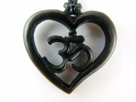 Om Heart Necklace - Wood Carving  -U008
