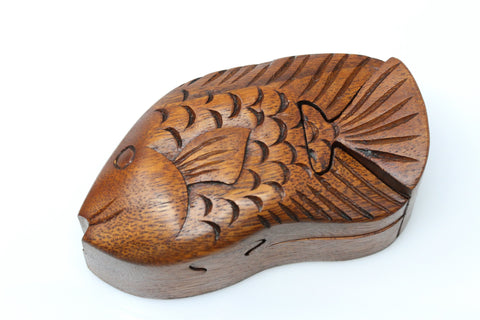 Fish secret puzzle box - hand carved wooden box