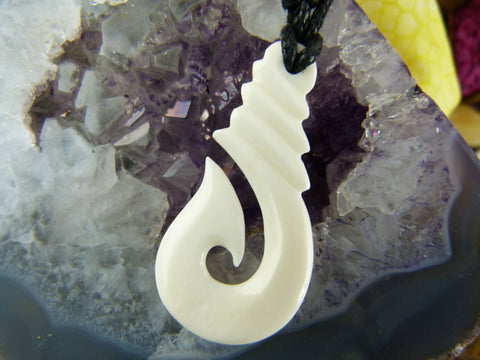 Bone Maori Hook Necklace - X022