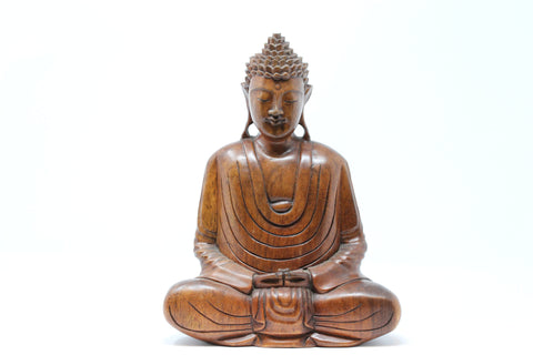 Hand Carved Wooden Meditating Buddha - 13 Inch Tall
