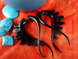Black Twist Stretching Earrings Horn (Pair) - B012