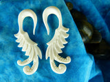 White Tail Feather Hanger for Stretched Ears (Pair) - C028