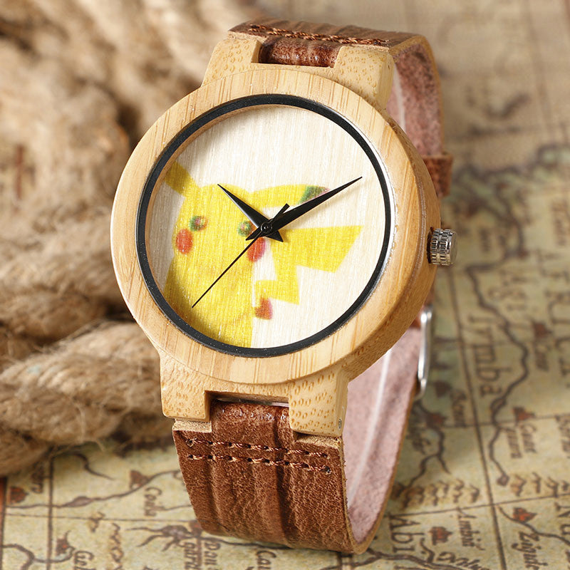 Pikachu Analog Watch Genuine Leather Band Strap