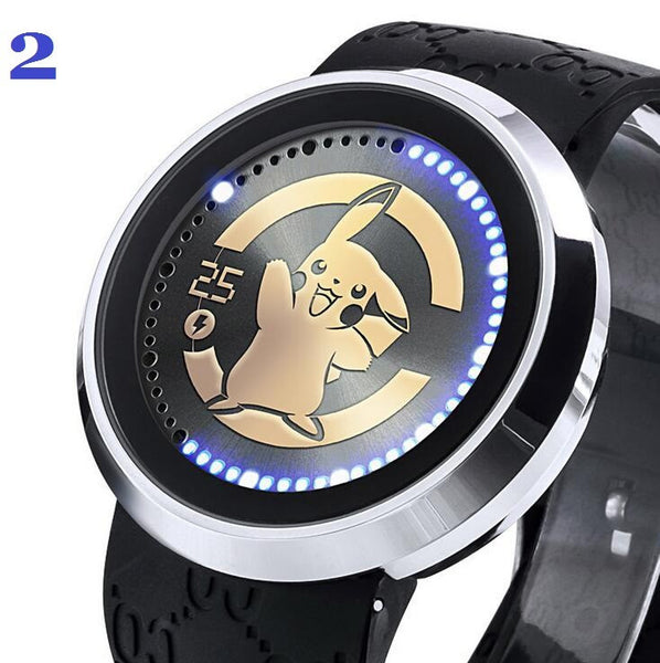 Pokemon Go Wrist Watch Waterproof Touch Screen LED Genuine Leather Watch Mens, Womens