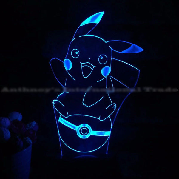 Pokemon go lamp 7 color changing visual illusion LED lamp 2016