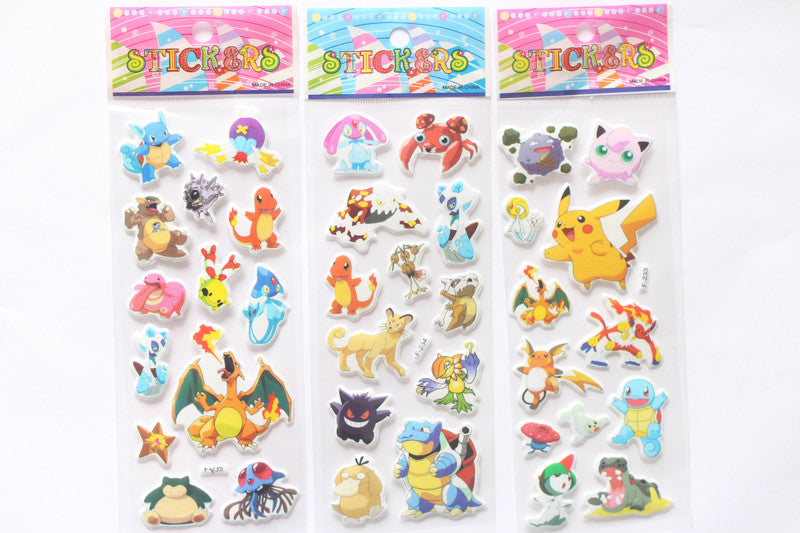3 Sheets/set Pikachu 3D stickers