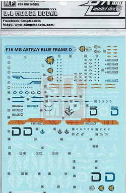 HiRes Water Slide Decal #F16 MG 1/100 Astray Gundam Blue Frame D