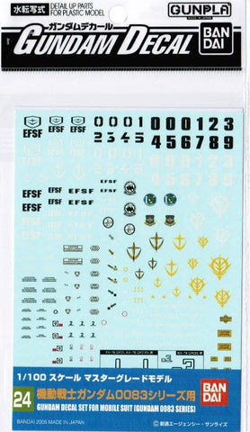 #24 Gundam Decal - Gundam Decal Set for MS (0083 Series) 1/100 MG