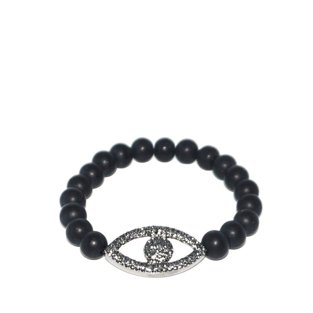pave evil eye stretch bracelet