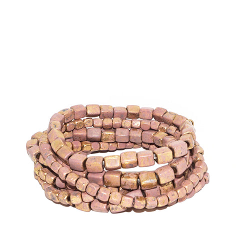 coated metal stretch bracelet set