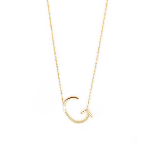 sterling large initial necklace