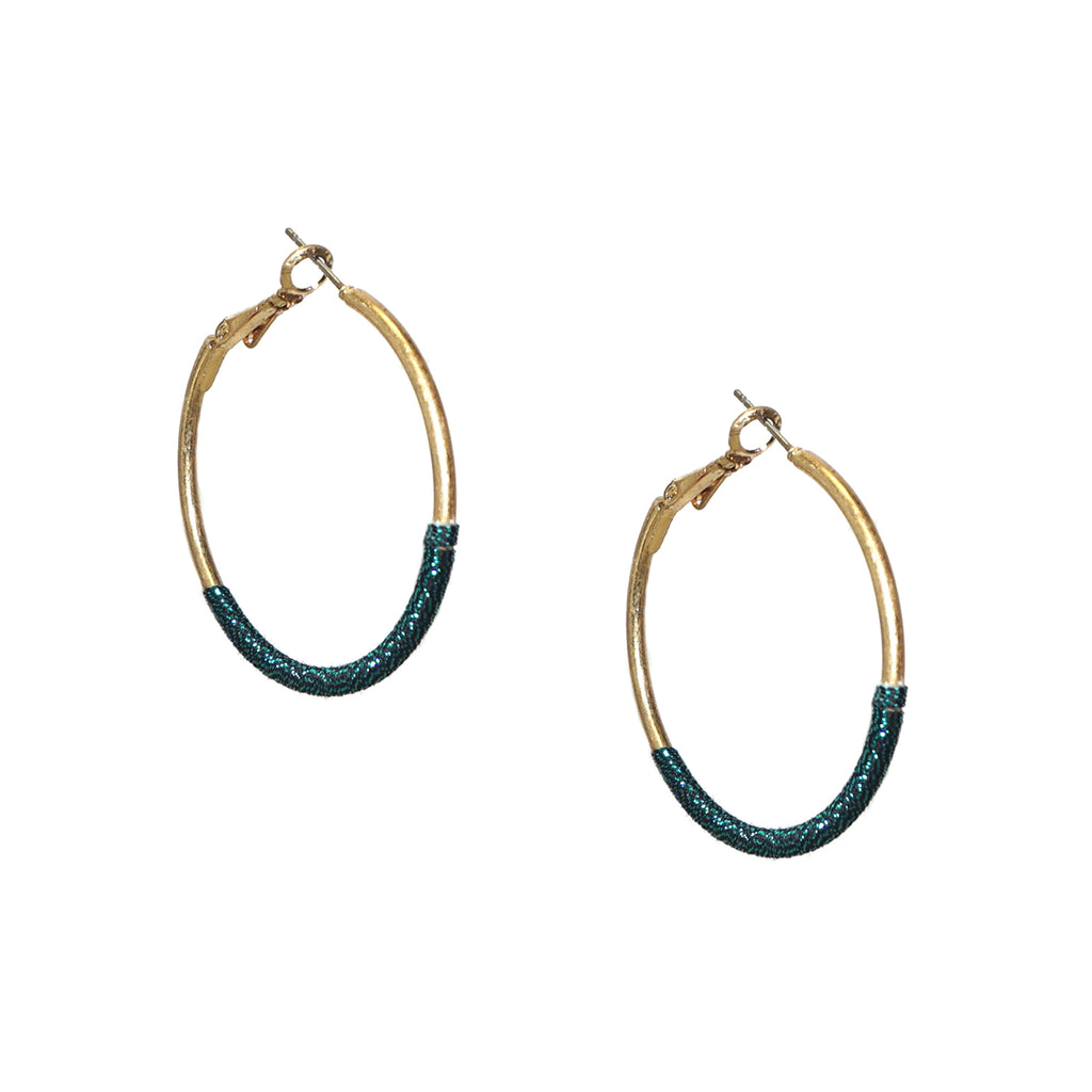 teal thread wrapped hoop