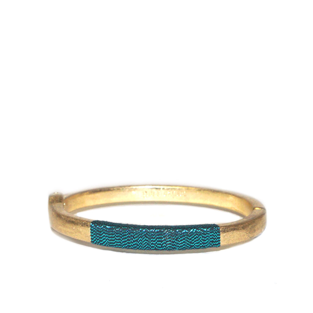 teal thread wrapped hinge bangle